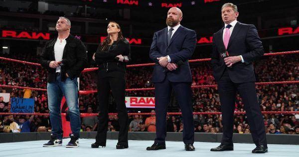 WWE backstage triple H, vince mcmahon, stephanie mcmahon, shane mcmahon