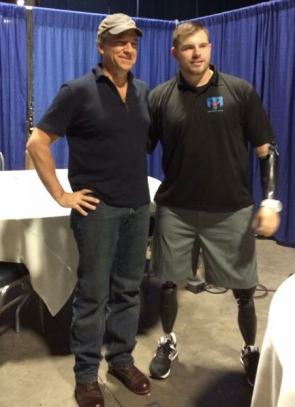 Mike Rowe and Travis Mills