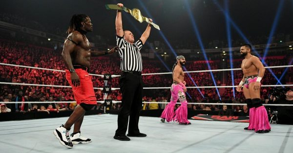 The Singh Brothers and R-Truth in 24/7 championship match