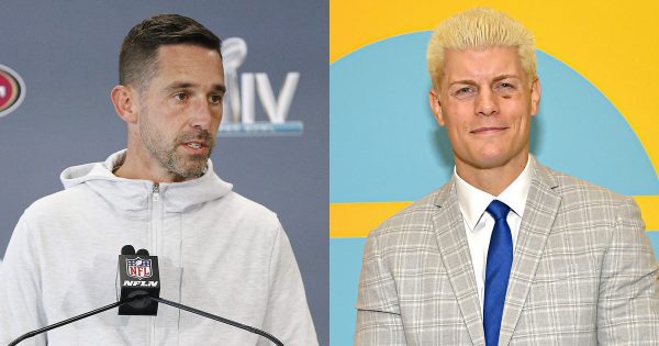 Former WWE Now AEW Cody Rhodes and 49ers coach Kyle Shanahan