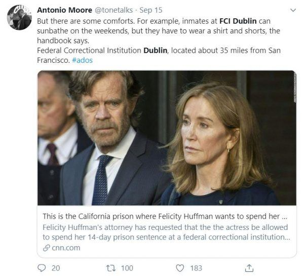 Felicity Huffman's life in prison at FCI Dublin has perks