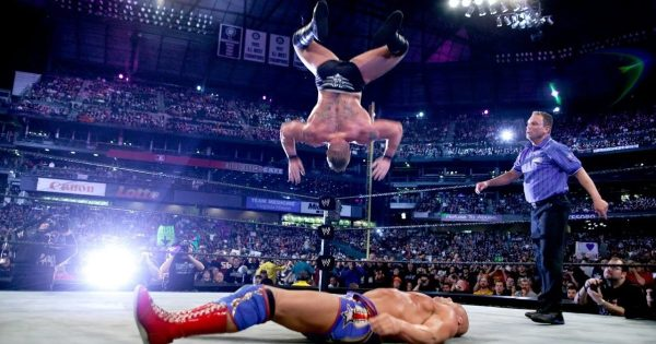 Brock Lesnar's failed shooting star press during Wrestlemania