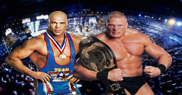 Brock Lesnar and Kurt Angle at WrestleMania XIX