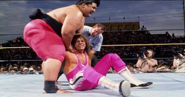 Bret Hart and Yokozuna at Wrestlemania 9