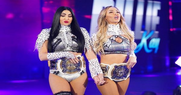 The IIconics as the WWE Women's Tag Team Champions
