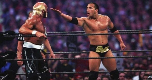 The Rock versus Hulk Hogan at Wrestlemania 18