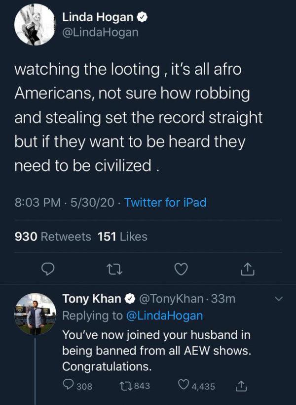 Linda Hogan posts racist statement on social media