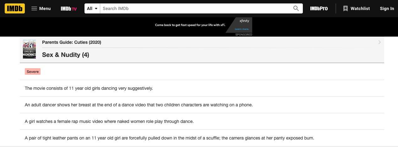 Netflix Cuties IMDB parenting warning