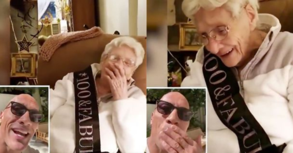 The Rock sends surprise for 100th year birthday