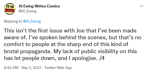 Al Ewing ends his Twitter thread by clearly stating that he won't work with Joe Bennet again, providing an apology to everyone.